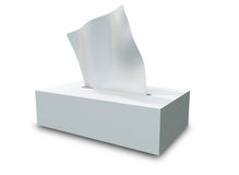 Tissue Box. A 3D blank tissue box placed on a white background Royalty Free Stock Photography