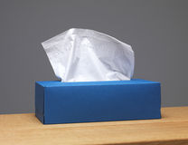 Tissue Box. Blue Tissue box on a sideboard Royalty Free Stock Photography