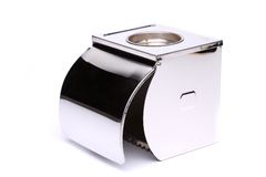 Tissue box full face. Tissue metal box without toilet paper Royalty Free Stock Image