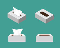 Tissue box icons in flat style, vector Royalty Free Stock Photography