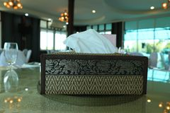 Tissue Box Put on a glass table stock images