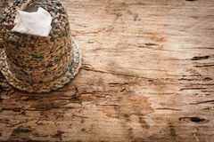 Tissue box on wooden board Royalty Free Stock Photos