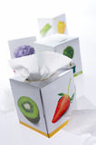Tissue boxes. Several boxes of tissues display on white background Royalty Free Stock Photos