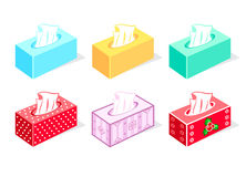 Tissue boxes. Colorful tissue boxes for health care and gift Royalty Free Stock Image