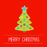 Tissue Christmas tree with buttons and star. Card. Royalty Free Stock Image