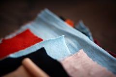 Tissue colored materials. Stock Photo