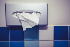 Tissue dispenser in bathroom Stock Image