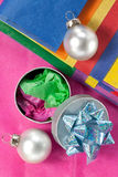 Tissue,Gift Box and Xmas Decorations Stock Image