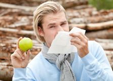 Tissue man apple Royalty Free Stock Image