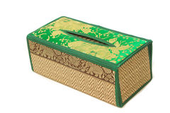Tissue paper box made by  bamboo wicker Royalty Free Stock Image