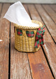 Tissue paper box made by basketry bamboo Royalty Free Stock Photography