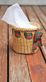 Tissue paper box made by basketry bamboo. Royalty Free Stock Photo