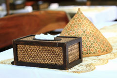 Tissue paper box made by basketry bamboo Stock Photos