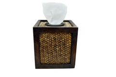 Tissue paper box made by basketry bamboo Royalty Free Stock Image