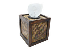 Tissue paper box made by basketry bamboo Stock Image