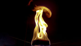Tissue paper with candle burn in the balloon Stock Image