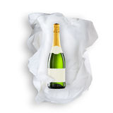 Tissue Paper and sparkling wine bottle Royalty Free Stock Photos