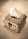 Tissue paper in vintage box Stock Images
