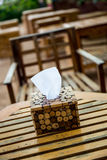 Tissue paper in wooden box holder Stock Photography