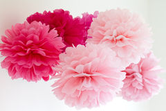 Tissue pompoms. For a party Royalty Free Stock Photo