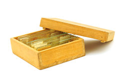 Tissue samples on a slide in a box Royalty Free Stock Photography