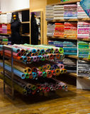 Tissue shop with fabrics Stock Photo