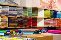 Tissue store with fabrics Stock Photos