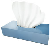 Tissues. Blue tissue box isolated on white background. 3D render Royalty Free Stock Image