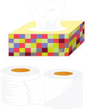 Tissues. Illustratiion of tissues and toilet paper Stock Image