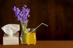 Tissues and fluids for cold or flu with flowers to brighten spirit. Tissue box, ginger ale and vase of flowers sit on a table stock images