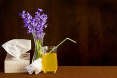 Tissues and fluids for cold or flu with flowers to brighten spirit. Used tissue sits beside tissue box, ginger ale and vase of flowers stock photos