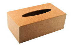 Tissues replacement handmade wooden dispenser box isolated on wh Royalty Free Stock Images