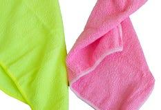 Tissus de Microfiber d'isolement sur le fond blanc, les outils pour le nettoyage et la propreté Le concept du grand nettoyage, co image stock