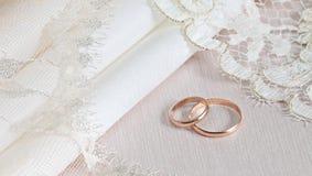 Tissus et lacet de mariage Images stock