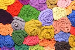 Tissus multicolores de satin Images libres de droits