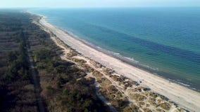 Aerial view of Tisvildeleje Beach, Denmark stock video footage