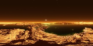 Titaan, grootste maan van Saturn met atmosfeer Panorama, milieu 360 HDRI-kaart Equirectangularprojectie, sferisch panorama royalty-vrije illustratie