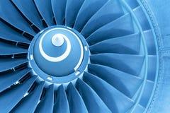 Titan blades of jet plane engine, blue light Royalty Free Stock Photo