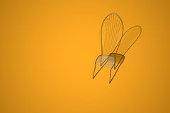 Titan chair. Metal chair with shadow on yellow background Stock Photos