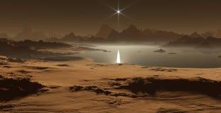 Titan, la plus grande lune de Saturn avec l'atmosphère dense Les lacs hydrocarbon et les mers de Saturn musardent le titan illustration libre de droits