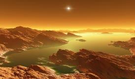 Titan, la plus grande lune de Saturn avec l'atmosphère Paysage extérieur de titan Évaporation des lacs d'hydrocarbure illustration stock
