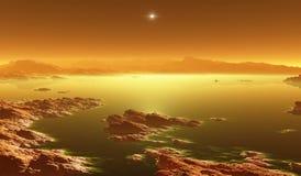 Titan, la plus grande lune de Saturn avec l'atmosphère Paysage extérieur de titan Évaporation des lacs d'hydrocarbure illustration libre de droits
