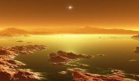 Titan, largest moon of Saturn with atmosphere. Surface landscape of Titan. Evaporating the hydrocarbon lakes. 3d illustration Royalty Free Stock Photo