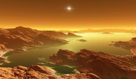 Titan, largest moon of Saturn with atmosphere. Surface landscape of Titan. Evaporating the hydrocarbon lakes. 3d illustration Stock Photography