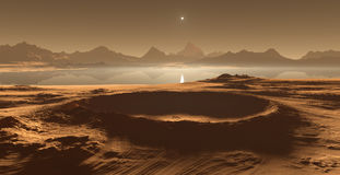 Titan, largest moon of Saturn with dense atmosphere. Hydrocarbon lakes and seas of Saturn moon Titan. 3D illustration Stock Photos
