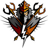 Titan Mascot with Trident and Crown Royalty Free Stock Images