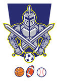 Titan mascot with various sport ball Stock Images