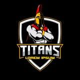 Titan ou calibre spartiate de logo d'emblème de guerrier illustration stock