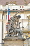 Titan statue at Prague castle entrance Stock Photos