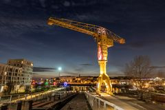 Titan yellow crane on Island of Nantes royalty free stock photography